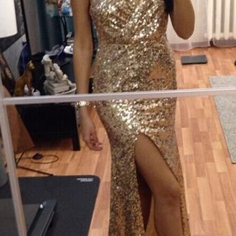 Mermaid Prom Dresses,Gold Sequins P..