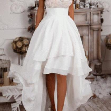 Sexy High Low Prom Dress,Ivory Chif..