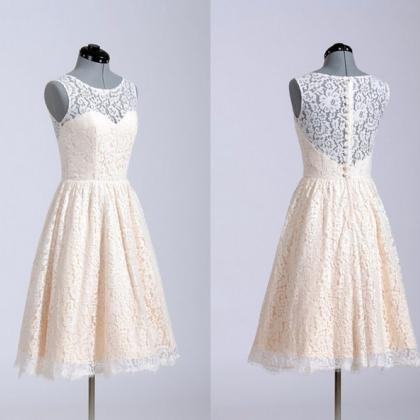 O-Neck Lace A-Line Short Prom Dress..