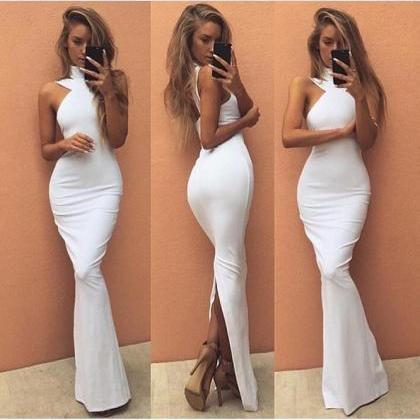 Halter Mermaid Prom Dress,Long Prom..