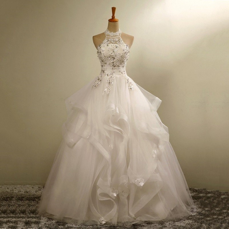 Ball gown wedding dresses lace halter ivory crystal for Tulle and organza wedding dresses
