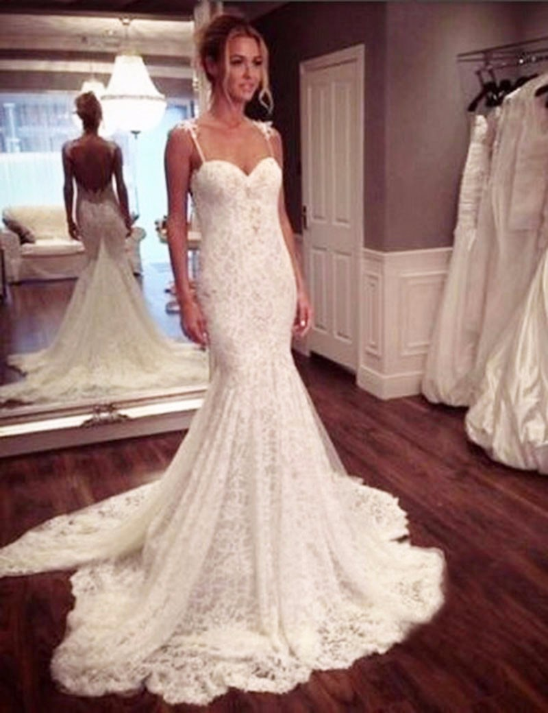 Sexy spaghetti straps lace mermaid wedding dresses 2016 for Real simple wedding dresses