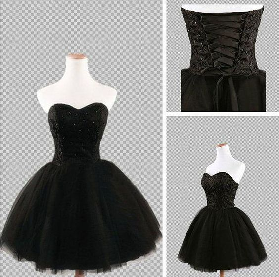 Hot sailing,Sexy Sweetheart Homecoming Dresses ,Black Prom Dresses ,Short Ball Gowns With Black Beading, Lace Up Back Party Dress