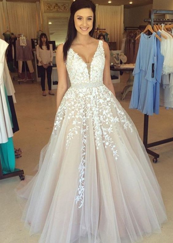 Long Sexy Prom Dress, White Lace Evening Dress, Deep V-Neck Prom Dress, Sleeveless Evening Dresses