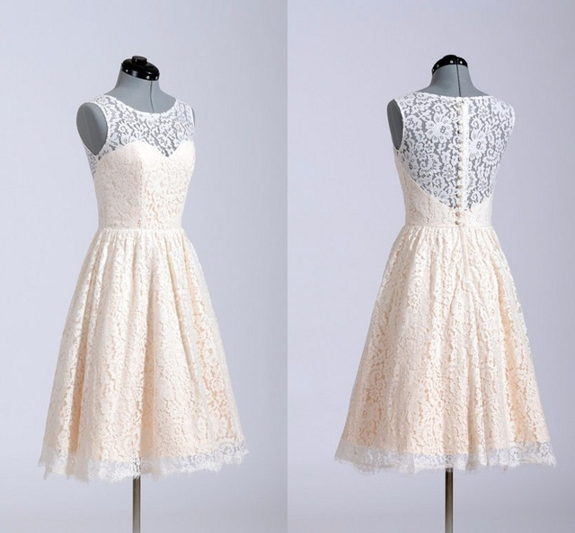 O-Neck Lace A-Line Short Prom Dresses,Above Knee Sleeveless Homecoming Dress,Party Dress Formal Evening Gowns