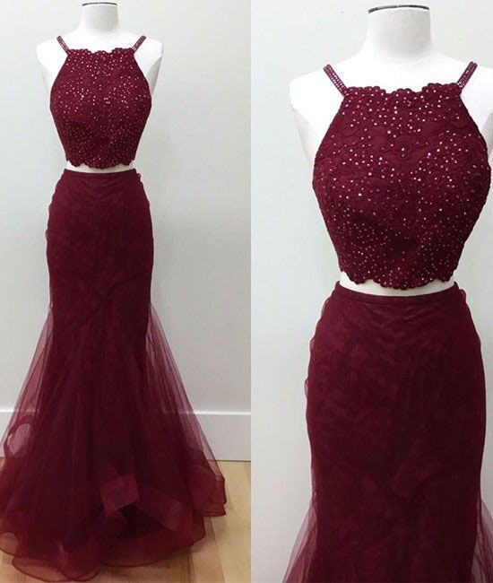 Hot-Selling Two-Piece Mermaid Halter Burgundy Long Prom Dress with Beading prom dresses,prom dress,2017 prom dress,fashion