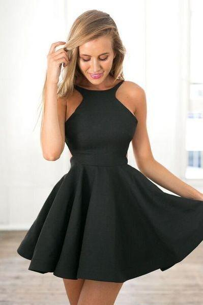 Black Short Dress,2017 Popular,Simple Homecoming Dress,Halter Sexy Cocktail Dress,Club Dress