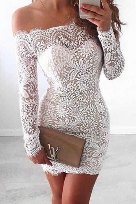 White Homecoming Dress,Lace Homecoming Gown,Bodice Sexy Mini Dress,Off the shoulder Long Sleeves Dress