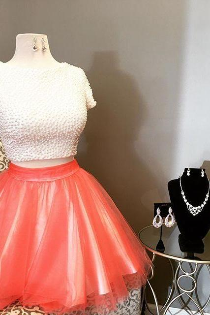 2017 Short Two Piece Homecoming Dress, White and Orange Homecoming Dress, White Pearls Homecoming Dress
