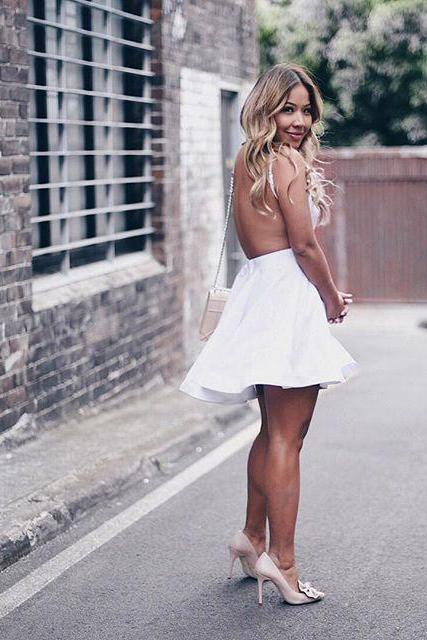 White Homecoming Dress, Short Backless Homecoming Dress