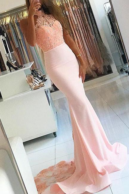 PINK MERMAID HALTER BEADINGS LACE LONG PROM DRESS MERMAID BRIDESMAID DRESS