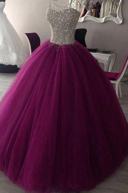 Sequins Sweetheart Floor Length Tulle Prom Gown