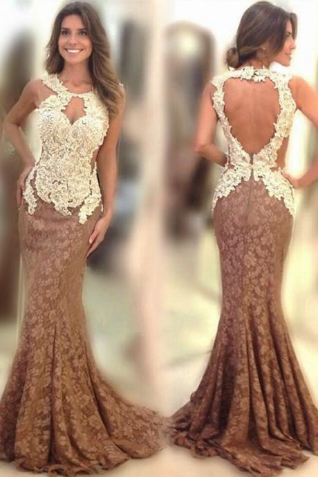 Elegant Scoop Sweep Train Brown Mermaid Lace Prom Dress Open Back with Appliques