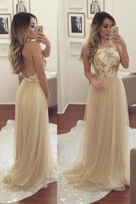 Open Back Halter Straps Prom Dress Backless Tulle Formal Gown Formal Dress