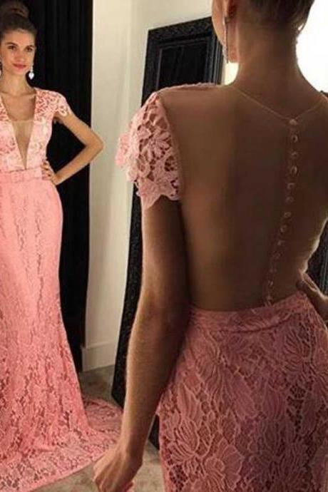 Cap Sleeve Peach Lace Mermaid Evening Prom Dresses, 2017 Sexy See Through Prom Dress, Custom Long Prom Dress, Cheap Party Prom Dress, Formal Prom Dress