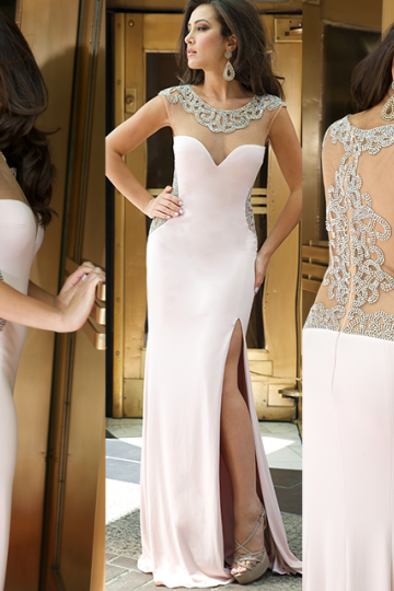 Pearl pink prom dress,long Prom Dress,side slit prom dress,charming prom dress,evening dress