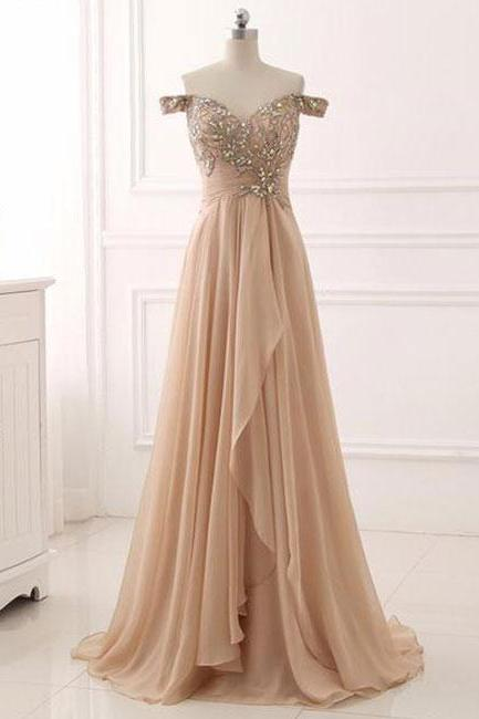Champagne Beaded Embellished Off-The-Shoulder Sweetheart Floor Length Chiffon A-Line Prom Dress, Formal Dress