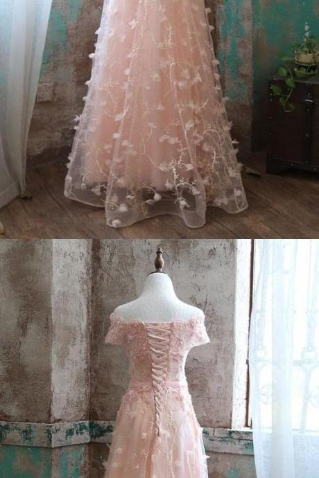 PINK LACE TULLE LONG PROM DRESS PINK EVENING DRESSES