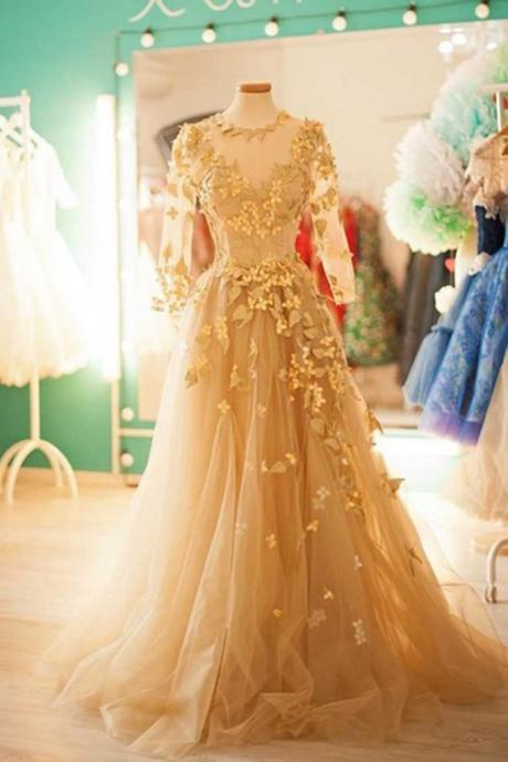 Champagne tulle round neck long sleeves applique handmade long dresses