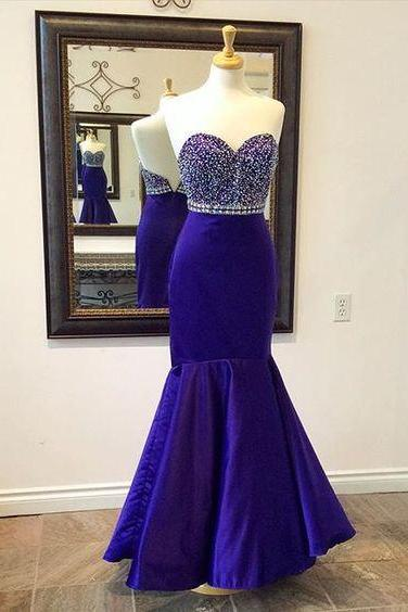 Beaded Embellished Sweetheart Floor Length Mermaid Prom Dress, Formal Dress