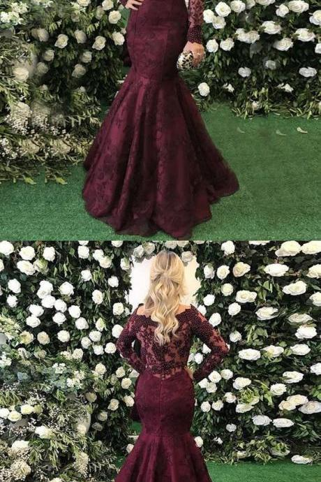 Mermaid Off-the-Shoulder Long Sleeves Burgundy Prom Dress with Lace Beading