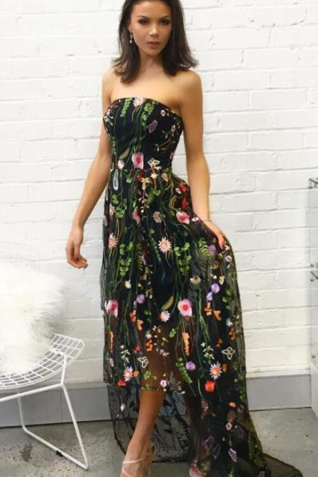 Floral Embroidered Black Strapless Straight-Across High Low A-Line Mesh Dress