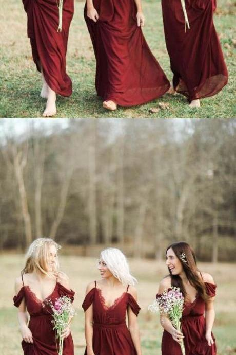 Burgundy Off the Shoulder Sexy Chiffon Long Pretty Bridesmaid Dresses