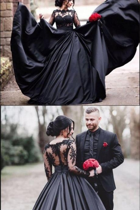 Black Long Sleeves Lace Elegant Modest Prom Dress, A-Line Ball Gown Wedding dresses