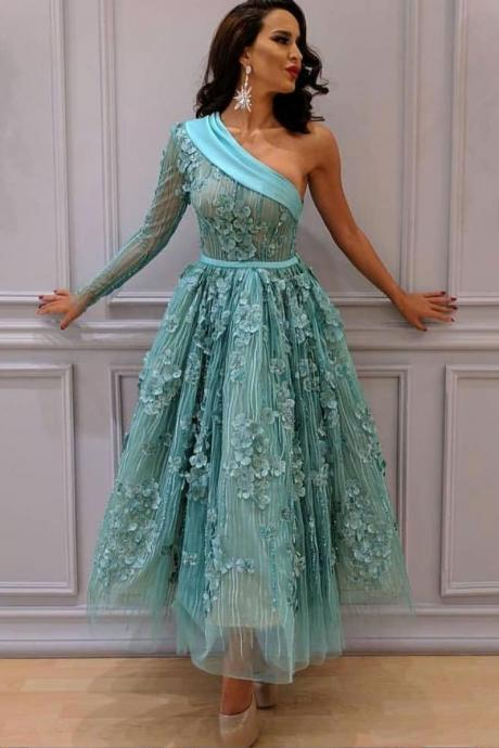 Unique one shoulder lace short prom dress, green evening dress