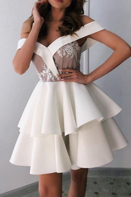White sweetheart off shoulder short prom dress, white homecoming