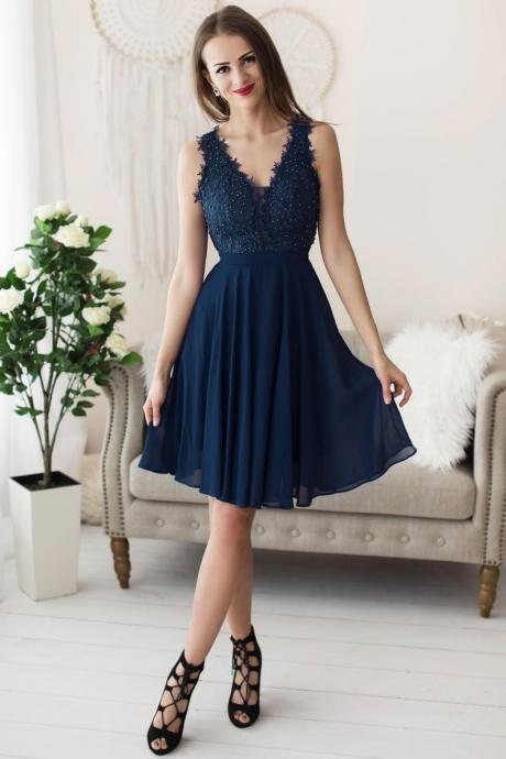 Dark blue chiffon lace short prom dress, blue evening dress