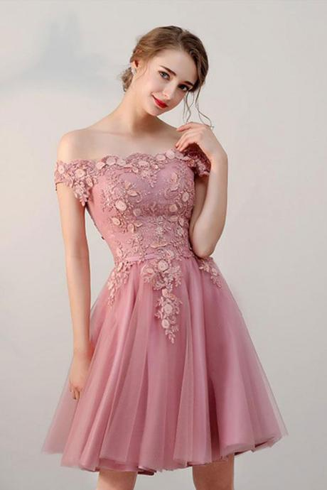 Pink tulle lace short prom dress, pink tulle lace evening dress