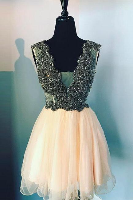 Cute v neck champagne tulle beads short prom dress, homecoming dress