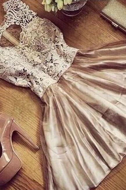 Champagne round neck lace tulle short prom dress, cute homecoming dress