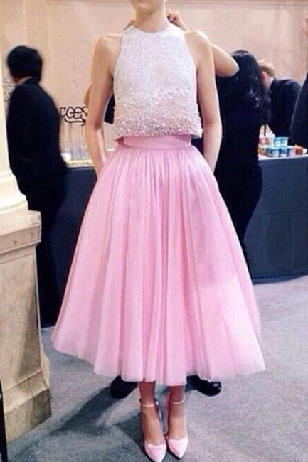 Pink two pieces sequin prom dress, pink formal dress