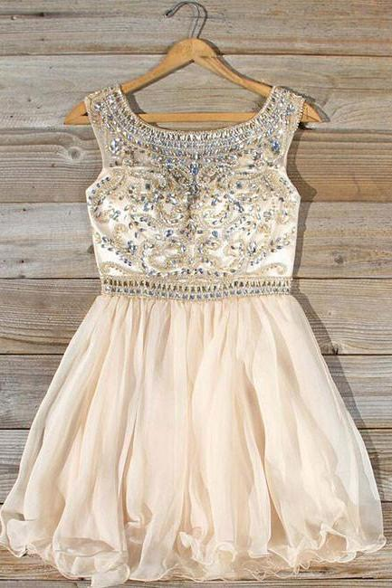 Cute round neck bead apricot short prom dress, homecoming dress
