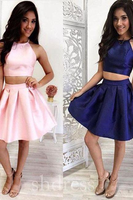 Simple two pieces short prom dress, cute homecoming dress