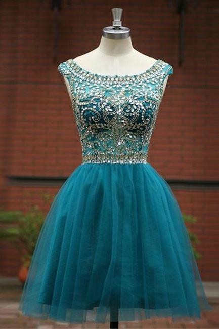 Green A -line round neck tulle short prom dress, green homecoming dress