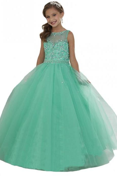 Mint Crystal Beading Girls Pageant Dresses Long Tulle Flower Girls Christmas Dress Party Ball Gowns Girl First Communion Dresses Size 2--14