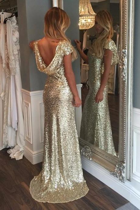 Bridesmaid Dresses,Mermaid Bridesmaid Dresses,Gold Sequins Bridesmaid Dresses,Long Bridesmaid Dresses,Mermaid Party Dresses,Mermaid Sequins Wedding Party Dresses,Short Sleeves Bridesmaid Dresses
