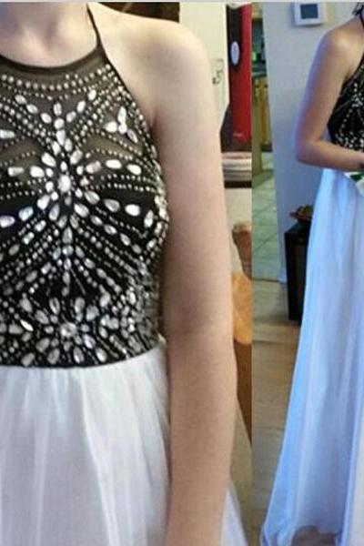 Backless Prom Dresses, Sexy Prom Dress, Backless Prom Dresses, Chiffon Prom Dresses, 2016 Prom Dresses,Beaded Chiffon Homecoming Dresses, Chiffon Formal Gowns