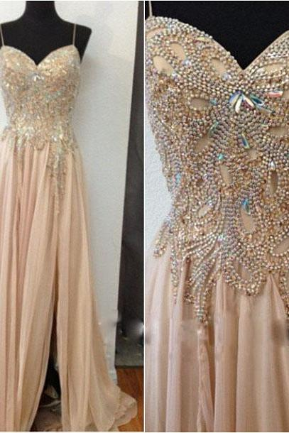 2016 New Champagne Chiffon Beaded Long Prom Dresses, Spaghetti Straps Evening Dress,High Slit Chiffon Prom Dress,Beaded Long Chiffon Formal Gowns