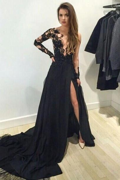 Black Chiffon One-shoulder Long Sleeves Appliques Side High Slit Sexy Prom Party Dresses Long Formal Pageant Ball Gowns