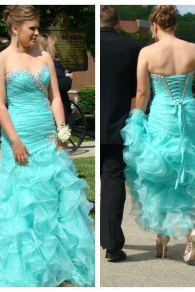 Light Blue Ruffles Prom Dresses 2016 Ball Gown Organza Prom Dresses Sweetheart Beading Crystals Evening Dress Party Formal Dress Gowns Vestidos