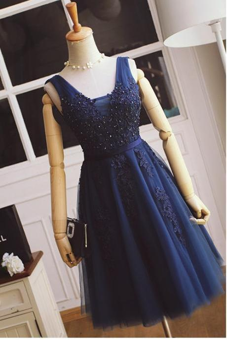 Short Navy Blue Lace Bridesmaid Dress,V-neckline Lace Prom Dress,Tulle and Lace Cocktail Dress,Formal Party Dress