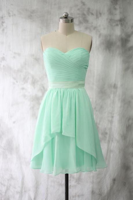 Knee Length Sweetheart Mint Bridesmaid Dress