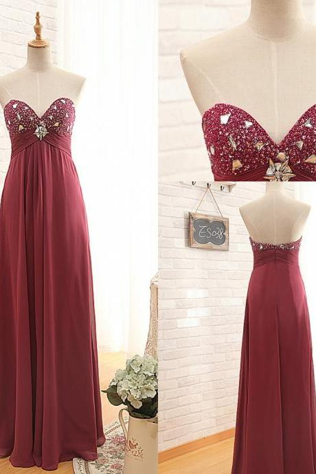 Ready to Ship Burgundy Prom Dress,Sweetheart Chiffon Prom Gown,Beaded Burgundy Party Dress,A-line Chiffon Occasion Dress