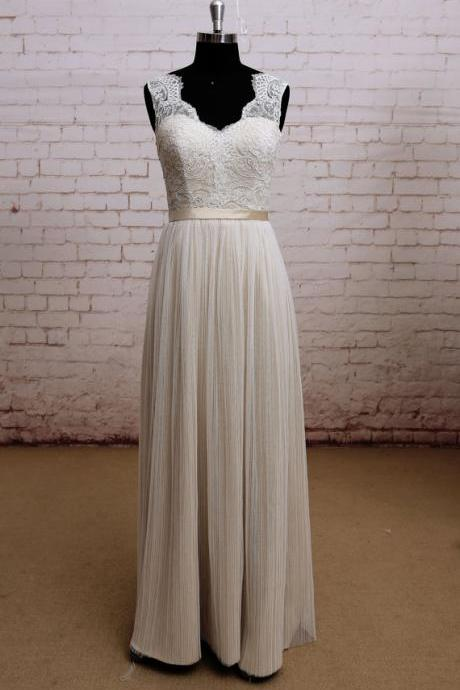 Prom dresses,Sexy Open Back Champagne Lace Wedding Dress