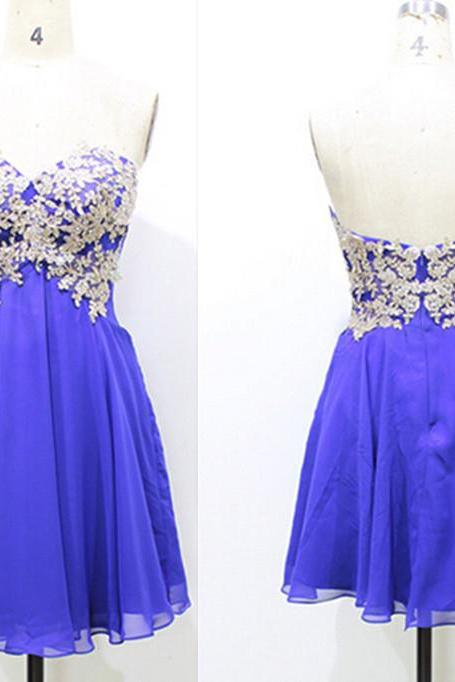 Short Blue Cocktail Dress,Lace Party Dress,Knee Length Royal Blue Bridesmaid Dress