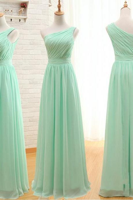 Light Green Ruched Chiffon One-Shoulder Floor Length A-Line Formal Dress, Prom Dress, Bridesmaid Dress